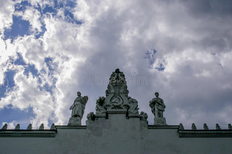 Sculptures on the roof royalty free stock photos