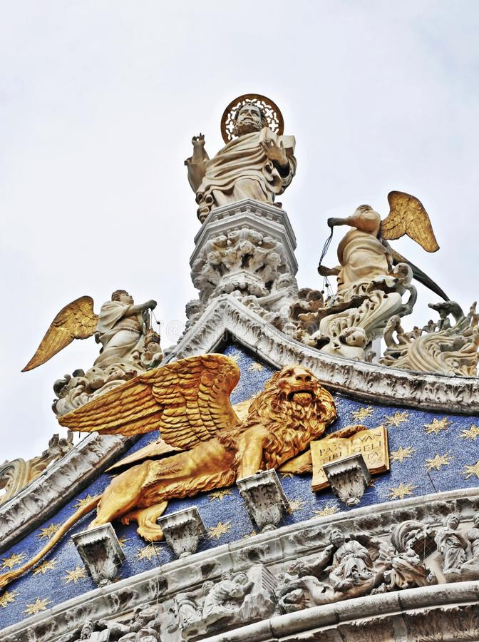 Sculptures on the St. Mark Cathedral in Venice royalty free stock photo