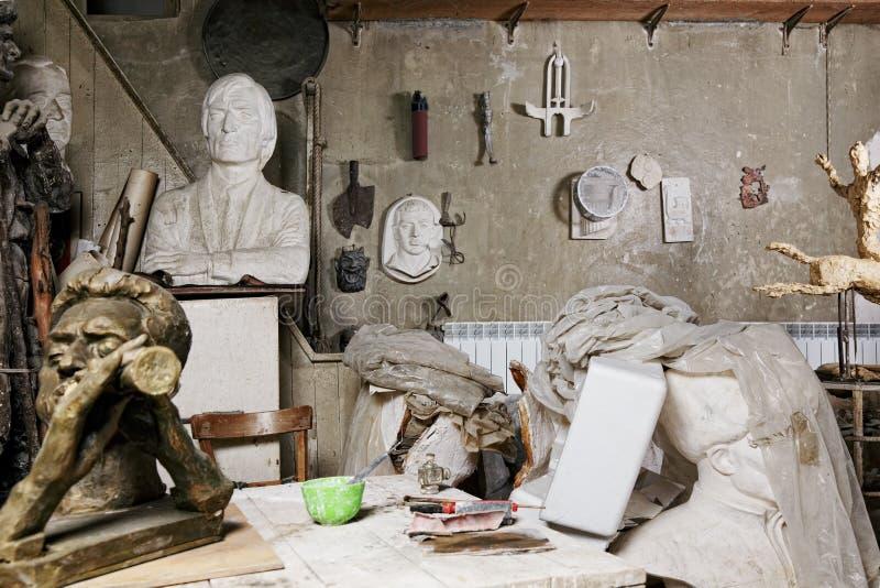 Sculptures In Workshop Stock Photo