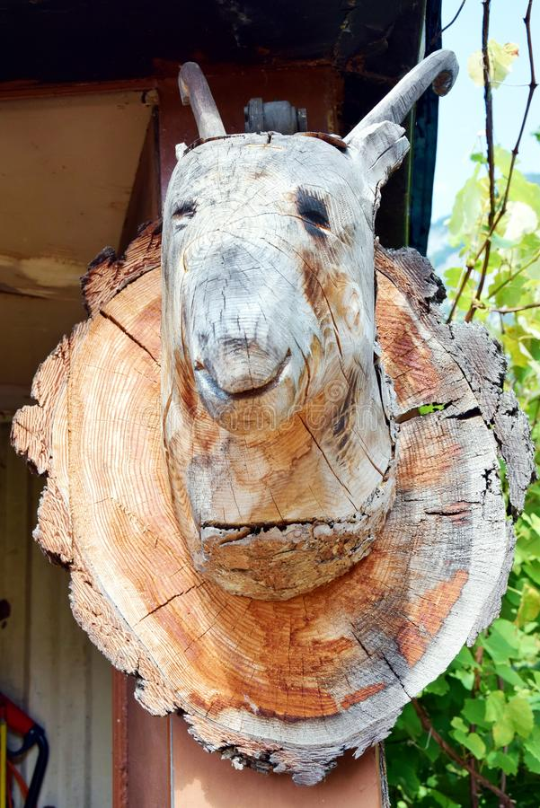 Sculpure en bois de chèvre dans Cadore en montagnes de Dolomity, Italie photo stock