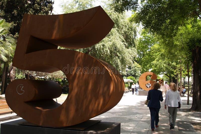 Sculputures in recoletosstraat Madrid royalty-vrije stock fotografie