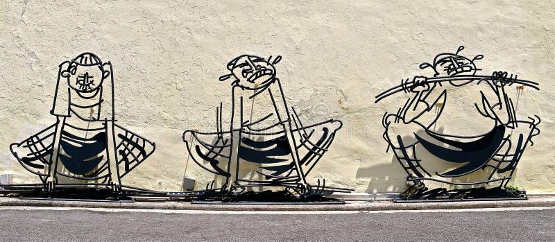 Scultpures d'art de rue de fonte photos libres de droits
