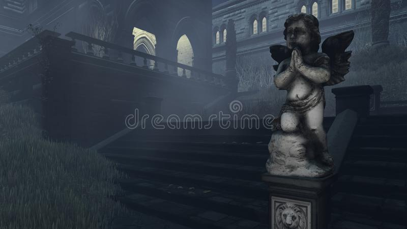 Scultura antica del cupido alla notte nebbiosa immagini stock libere da diritti