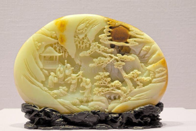 Scultura antica della giada di Chines immagine stock