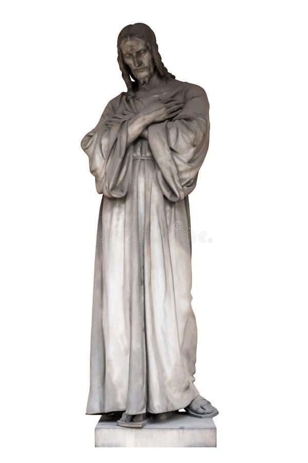 Scultura antica di Jesus Christ, isolato su un fondo bianco fotografie stock libere da diritti