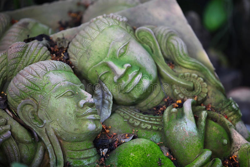 Scultura, architettura e simboli di buddismo, Tailandia fotografia stock