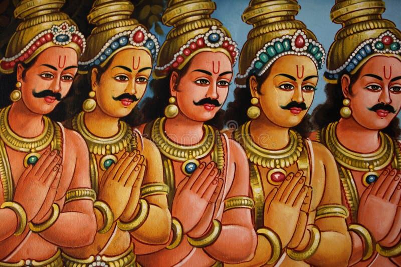 Scultura, architettura e simboli di Hinduismo e di buddismo immagini stock