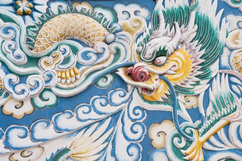 Scultura cinese del drago. fotografia stock