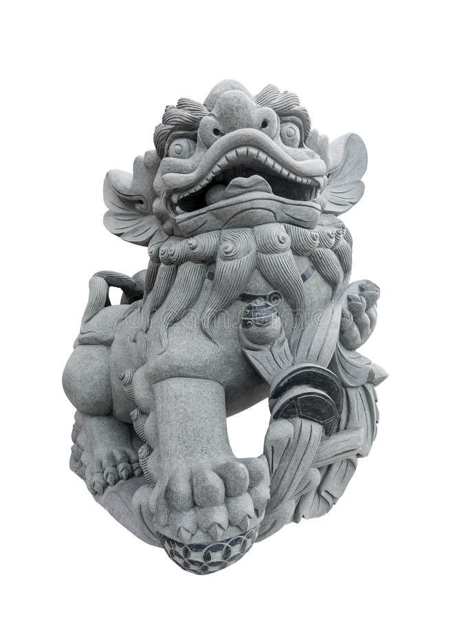 Scultura cinese del leone isolata fotografia stock libera da diritti