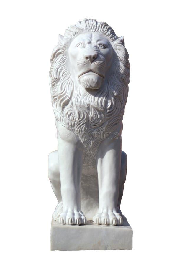 Scultura del leone di seduta di marmo bianco immagini stock