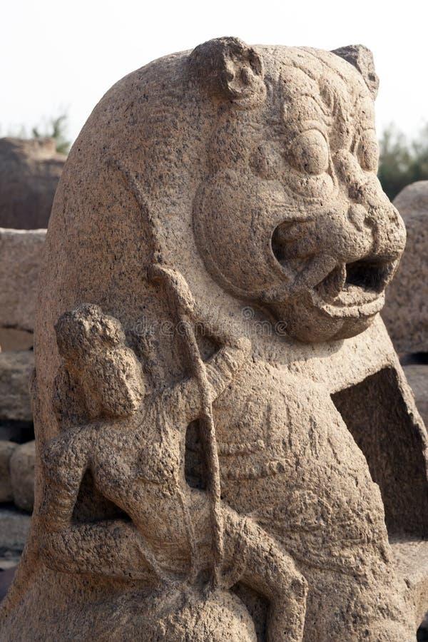Scultura del tempiale del puntello di Mamallapuram fotografia stock libera da diritti