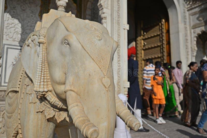 Scultura dell'elefante, palazzo della città, Jaipur, Ragiastan fotografie stock