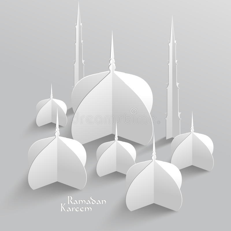 Scultura della carta della moschea di vettore 3D fotografie stock libere da diritti