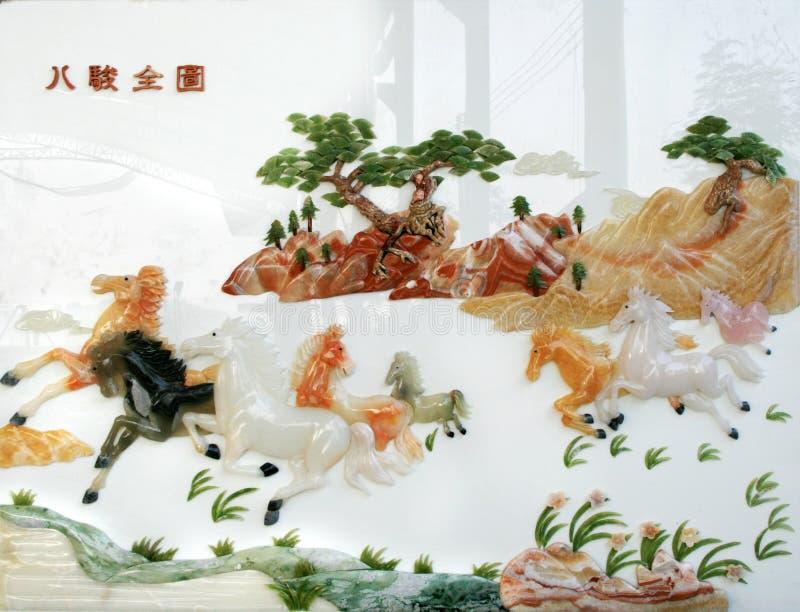 Scultura della giada di tiraggio della parete di rilievo fotografie stock libere da diritti