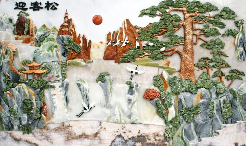 Scultura della giada di tiraggio della parete di rilievo immagini stock libere da diritti