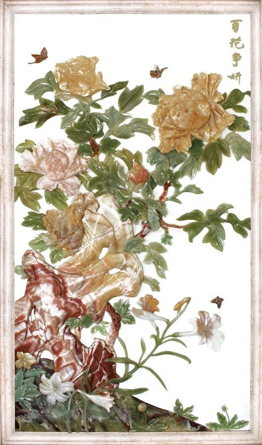 Scultura della giada di tiraggio della parete di rilievo fotografia stock