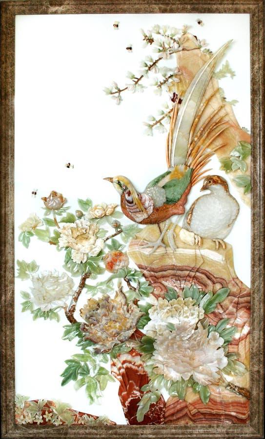 Scultura della giada di tiraggio della parete di rilievo immagine stock libera da diritti