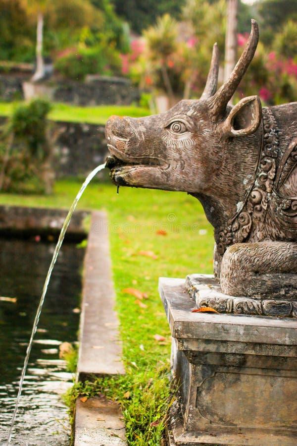 Scultura della mucca nel palazzo di Tirta Gangga in Karangasem, Bali fotografia stock