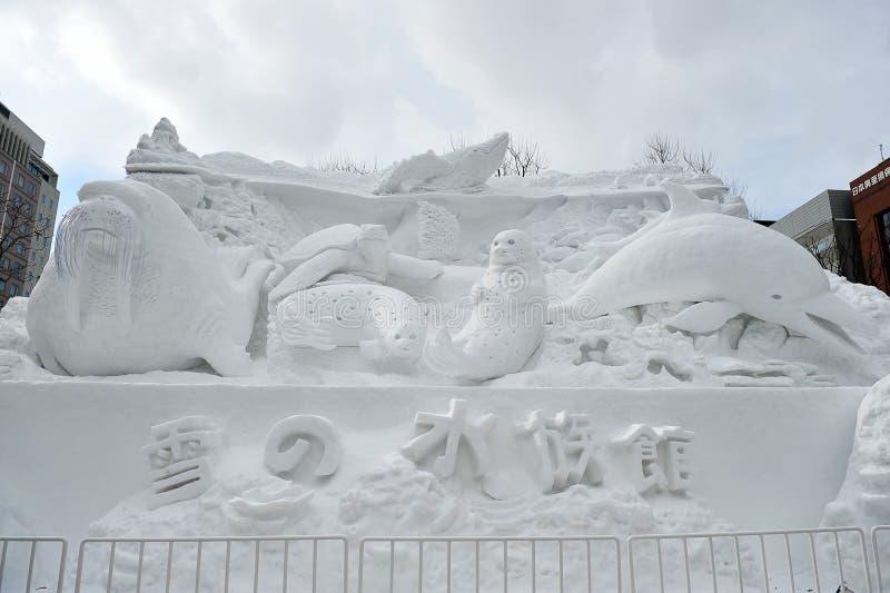 Scultura della neve fotografia stock