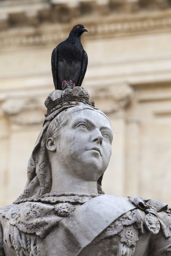 Scultura della regina Victoria con il piccione nella capitale di Malta Val immagine stock