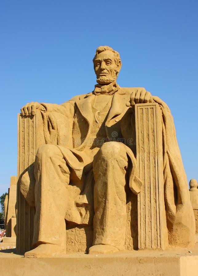 Scultura della sabbia di Abraham Lincoln fotografia stock libera da diritti