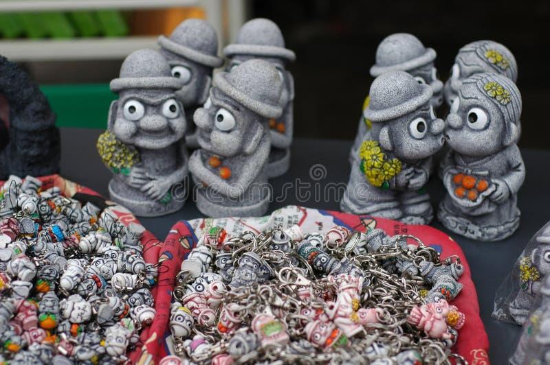 Scultura delle coppie dell'idolo di Jeju fotografia stock