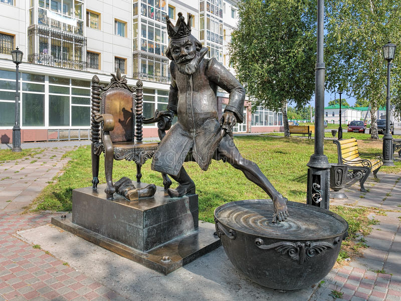 Scultura dello zar dalla poesia di fiaba il piccolo cavallo gobbo in Tobol'sk, Russia fotografie stock