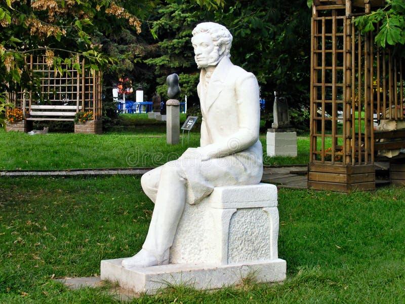 Scultura di Alexander Pushkin - parco delle arti Muzeon fotografie stock