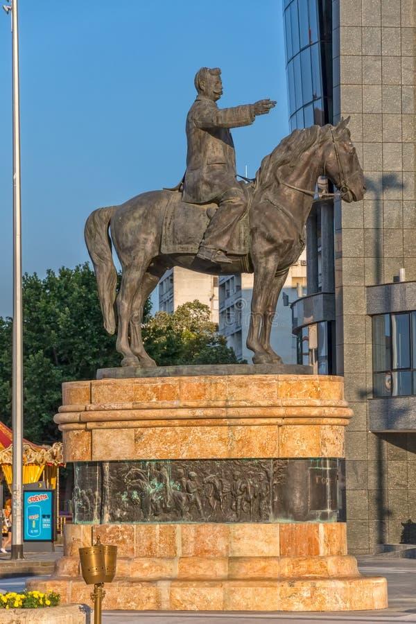 Scultura di Gotse Delcev a Skopje immagine stock libera da diritti