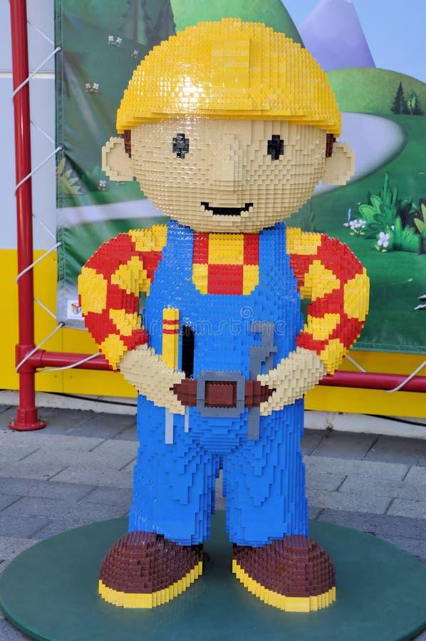Scultura di Lego di Bob il costruttore fotografie stock libere da diritti