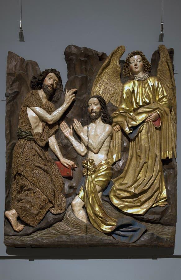 Scultura di Limewood di Jesus Baptism dentro il museo di arte metropolitano NYC fotografia stock libera da diritti
