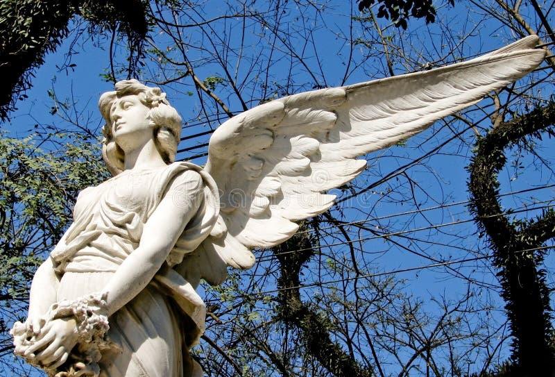 Scultura di marmo bianca triste di angelo con le ali lunghe aperte attraverso la struttura e contro un cielo blu soleggiato lumin fotografia stock libera da diritti