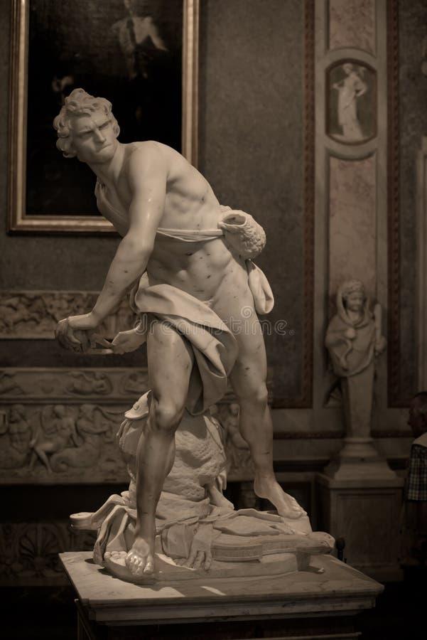 Scultura di marmo David da Gian Lorenzo Bernini immagini stock
