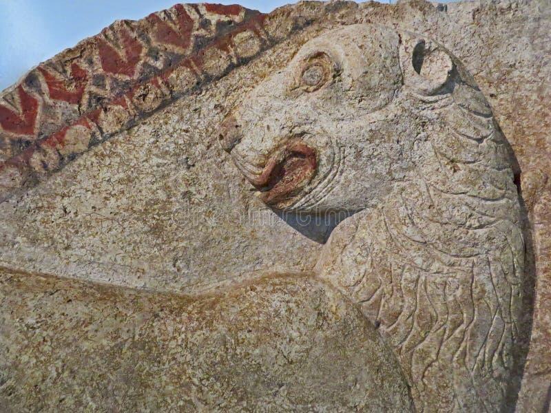 Scultura di pietra antica di sollievo del leone Tempi di Thracian bulgaria fotografie stock libere da diritti