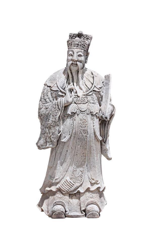Scultura di pietra cinese isolata su fondo bianco fotografie stock