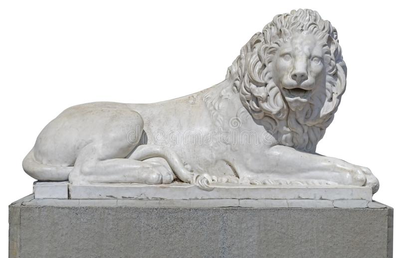 Scultura di un leone da marmo su bianco fotografia stock libera da diritti