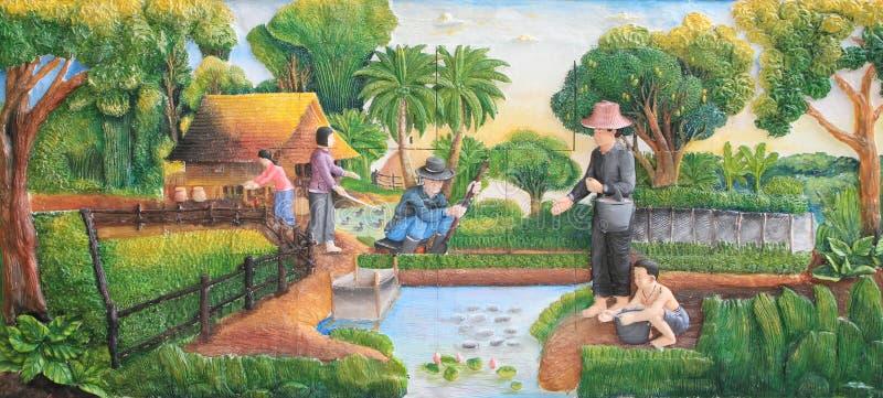 Scultura e verniciatura di pietra della cultura tailandese tradizionale fotografia stock