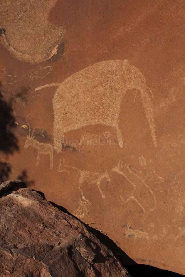 Sculture antiche del boscimano - Namibia fotografie stock
