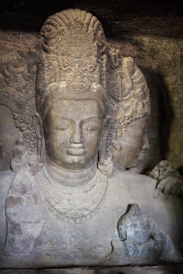 Sculture della roccia nelle caverne di Elephanta immagini stock libere da diritti