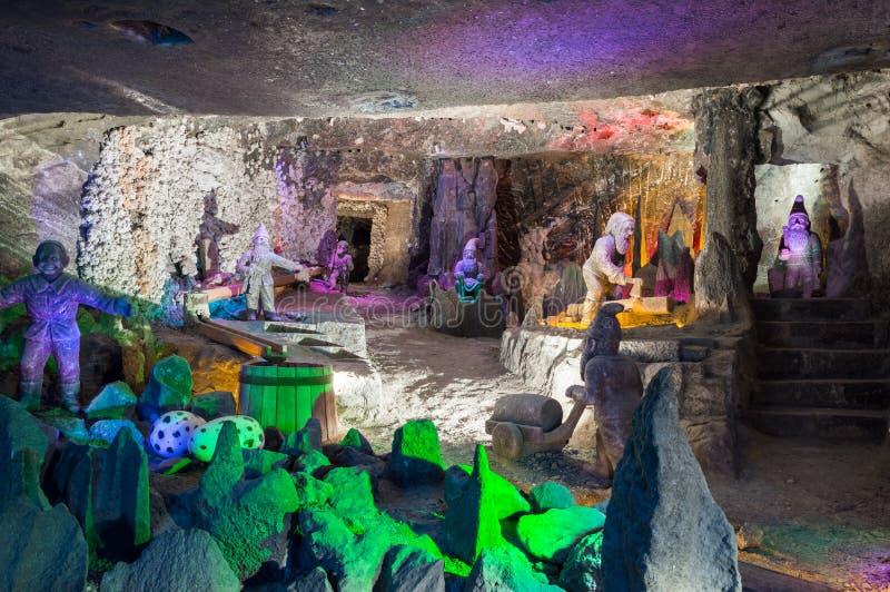 Sculture nella miniera di sale famosa in Wieliczka, Polonia immagine stock libera da diritti