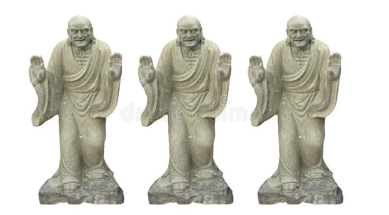 Sculture trois bouddhiste chinois antique d'isolement sur les milieux blancs images stock