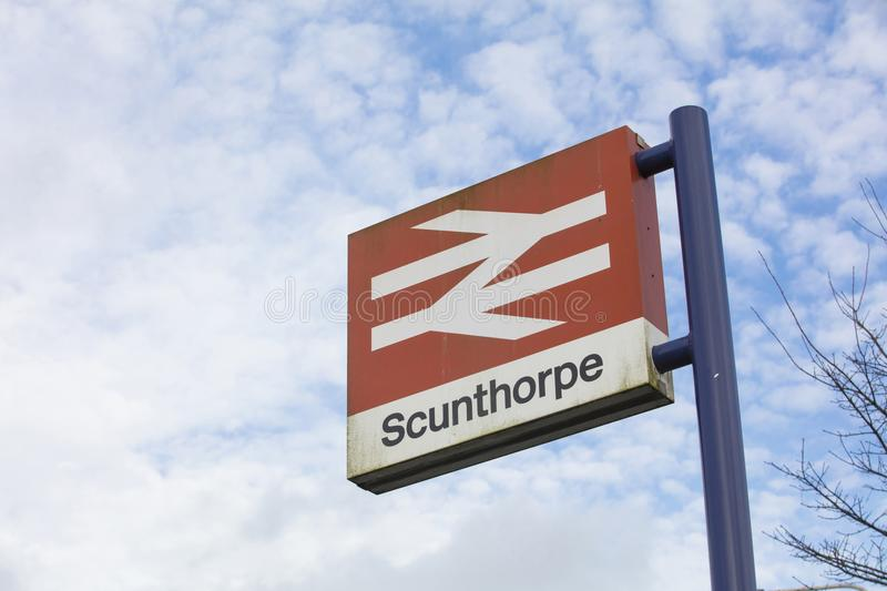 Scunthorpe Station Sign- Scunthorpe, Lincolnshire, United Kingdom - 23rd January 2018 royalty free stock image