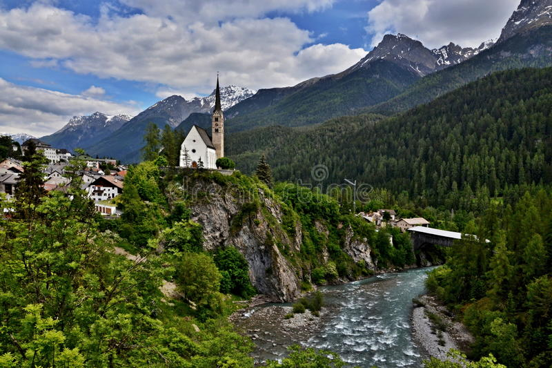 Download Scuol-view Of The Bridge And The Church Stock Image - Image: 33383619