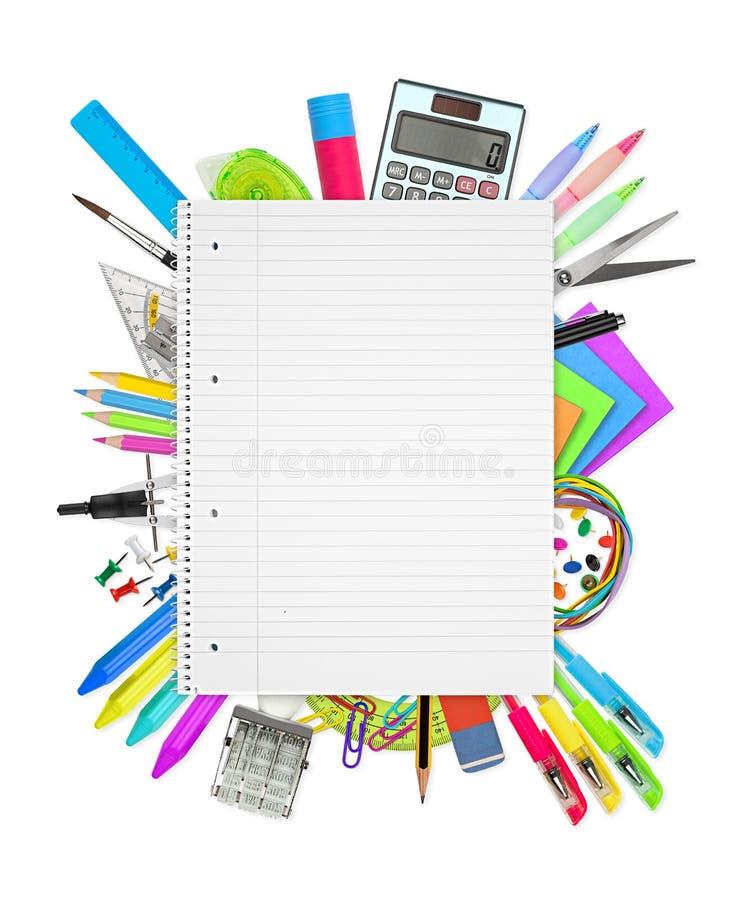 Scuola/articoli per ufficio su fondo bianco immagini stock libere da diritti