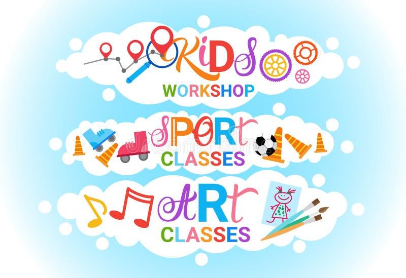 Scuola artistica creativa del gruppo di lavoro di Art Classes For Kids Logo per l'insegna dei bambini illustrazione di stock