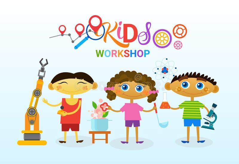 Scuola artistica creativa di Art Classes For Kids Logo per l'insegna dei bambini illustrazione vettoriale