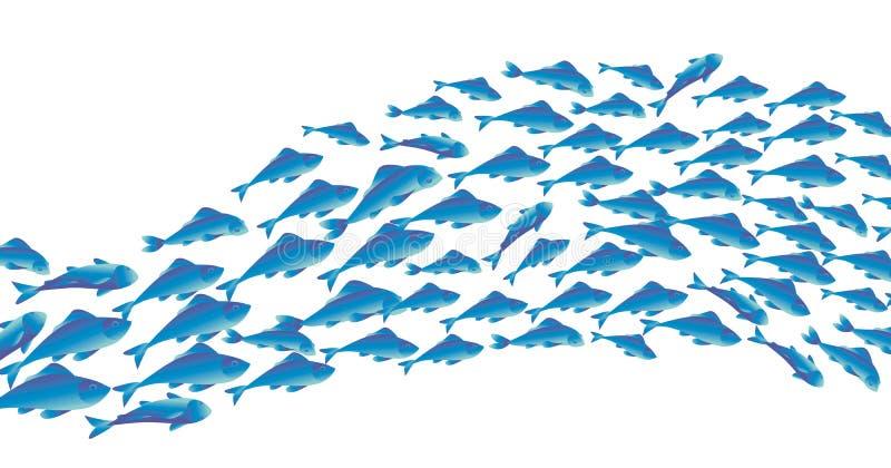 Scuola dell'illustrazione di vettore del pesce per l'intestazione illustrazione di stock