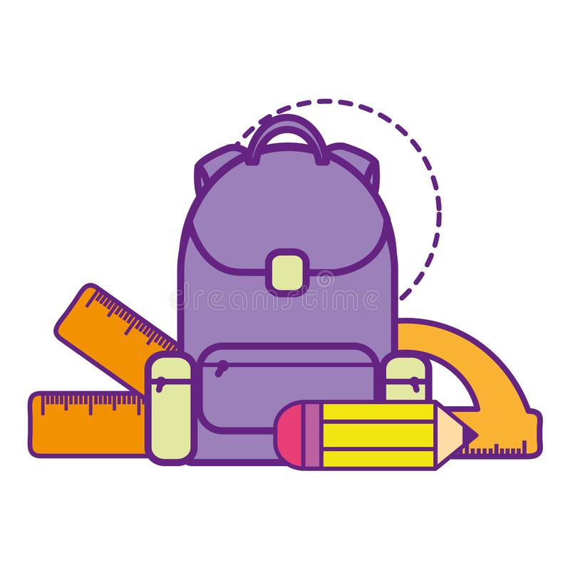 Scuola della borsa con la matita e l'icona isolata regole illustrazione di stock