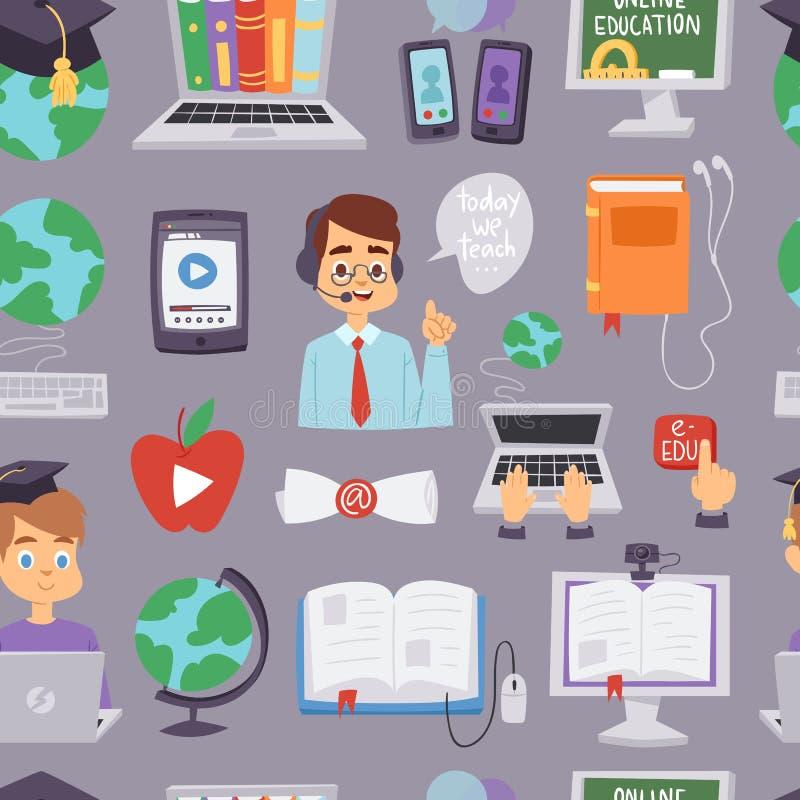 Scuola di lingue online di vettore di istruzione ed insegnanti d'apprendimento online e studenti di distanza educativa di program illustrazione vettoriale