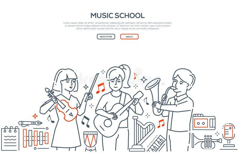Scuola di musica - linea moderna insegna di vettore di stile di progettazione illustrazione di stock